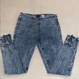 High Waist Skinny Jeans With Zipper Bows